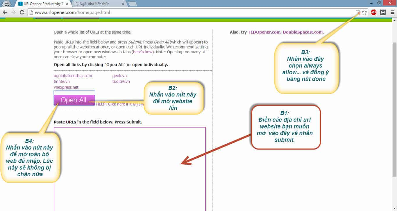 Cách mở nhiều trang web cùng lúc