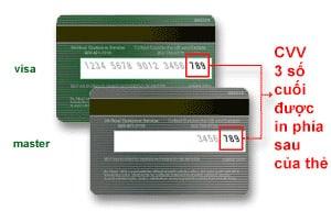 Số cvv trên thẻ visa và mastercard