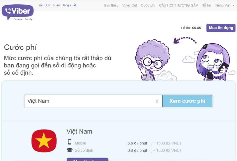 Giá cước Viber gọi về Việt Nam
