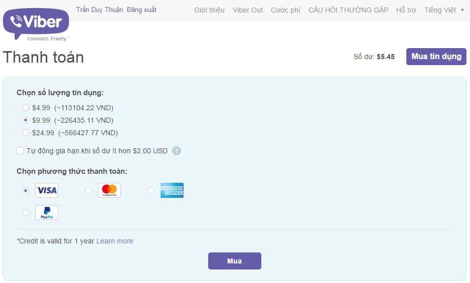 11 - Hướng dẫn cách nạp tiền - mua tín dụng cho Viber Out