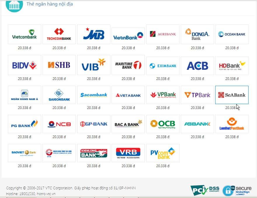 Danh sách các ngân hàng