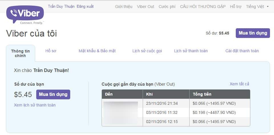 10 - Hướng dẫn cách nạp tiền - mua tín dụng cho Viber Out