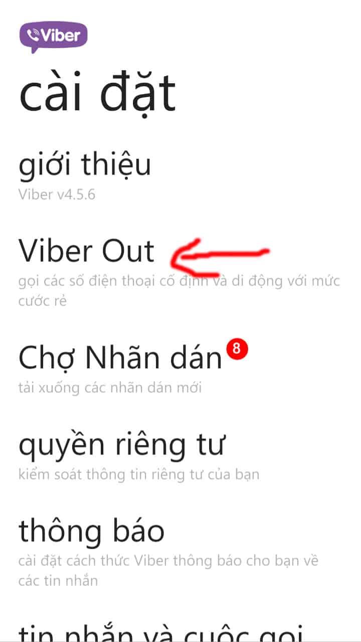 14 - Hướng dẫn cách nạp tiền - mua tín dụng cho Viber Out