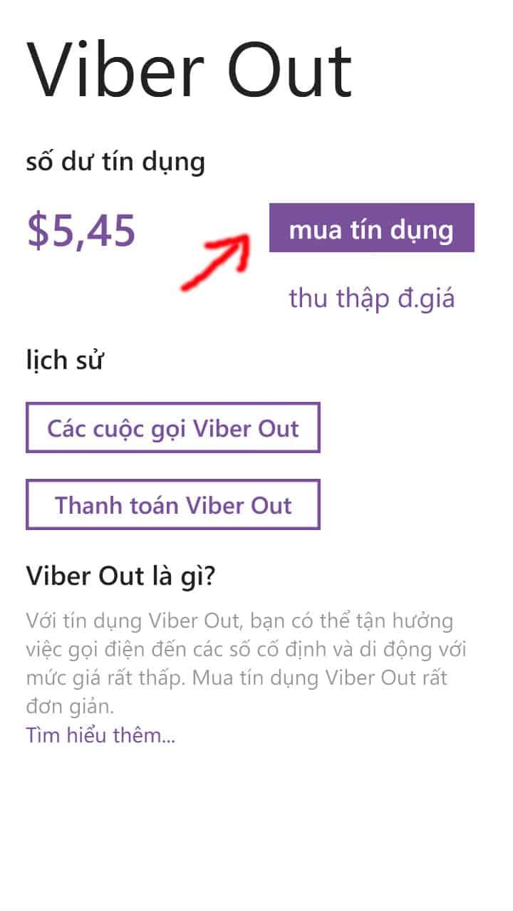3 - Hướng dẫn cách nạp tiền - mua tín dụng cho Viber Out