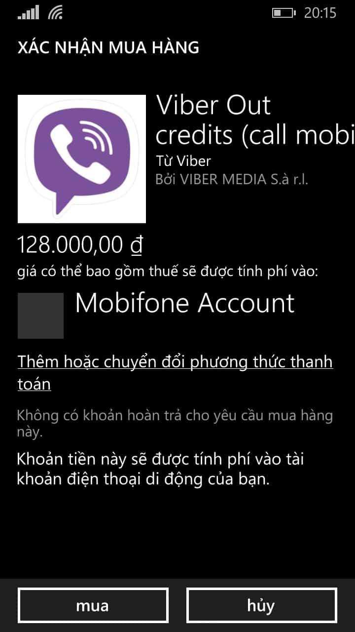 5 - Hướng dẫn cách nạp tiền - mua tín dụng cho Viber Out