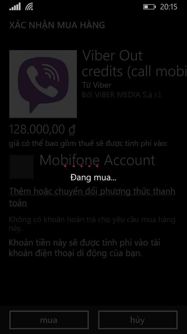 6 - Hướng dẫn cách nạp tiền - mua tín dụng cho Viber Out