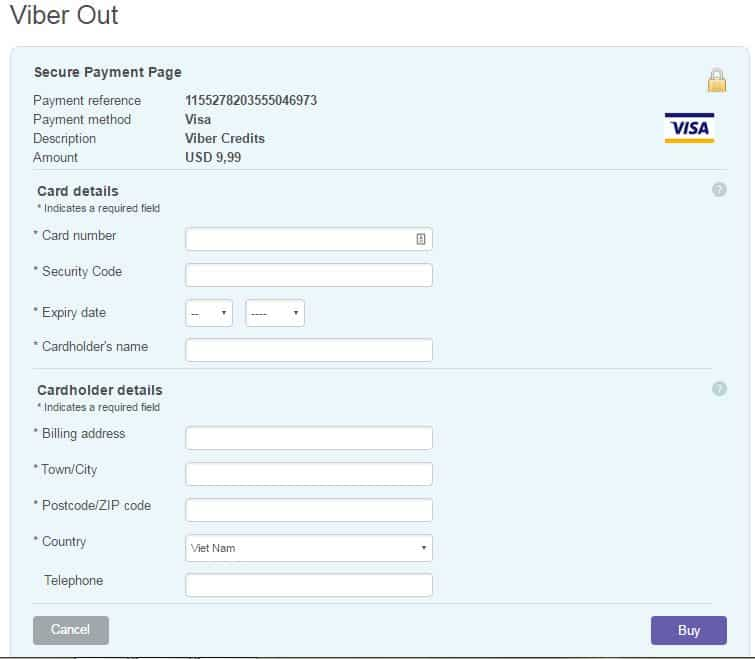 12 - Hướng dẫn cách nạp tiền - mua tín dụng cho Viber Out