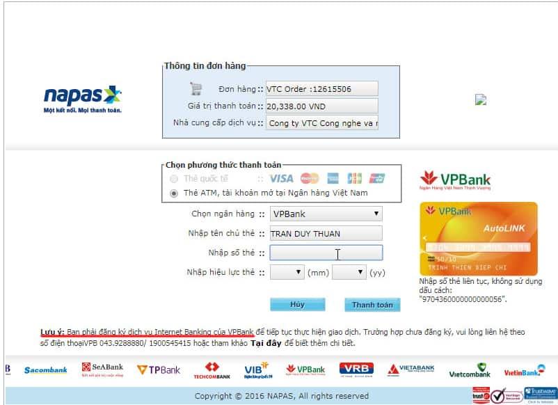 Nhập thông tin thẻ ATM để thanh toán