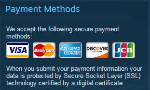 Phương thức thanh toán bằng thẻ thanh toán quốc tế trên Steam