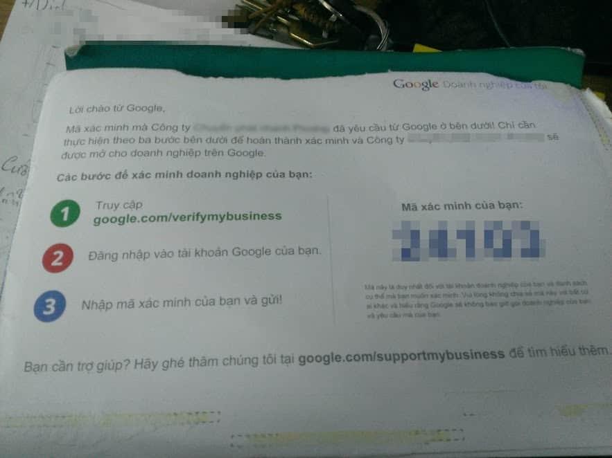 Thư xác minh google doanh nghiệp