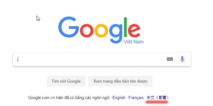 Ngôn ngữ Google Seach