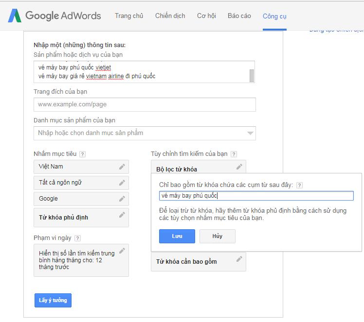Tìm kiếm vé máy bay phú quốc keyword planner