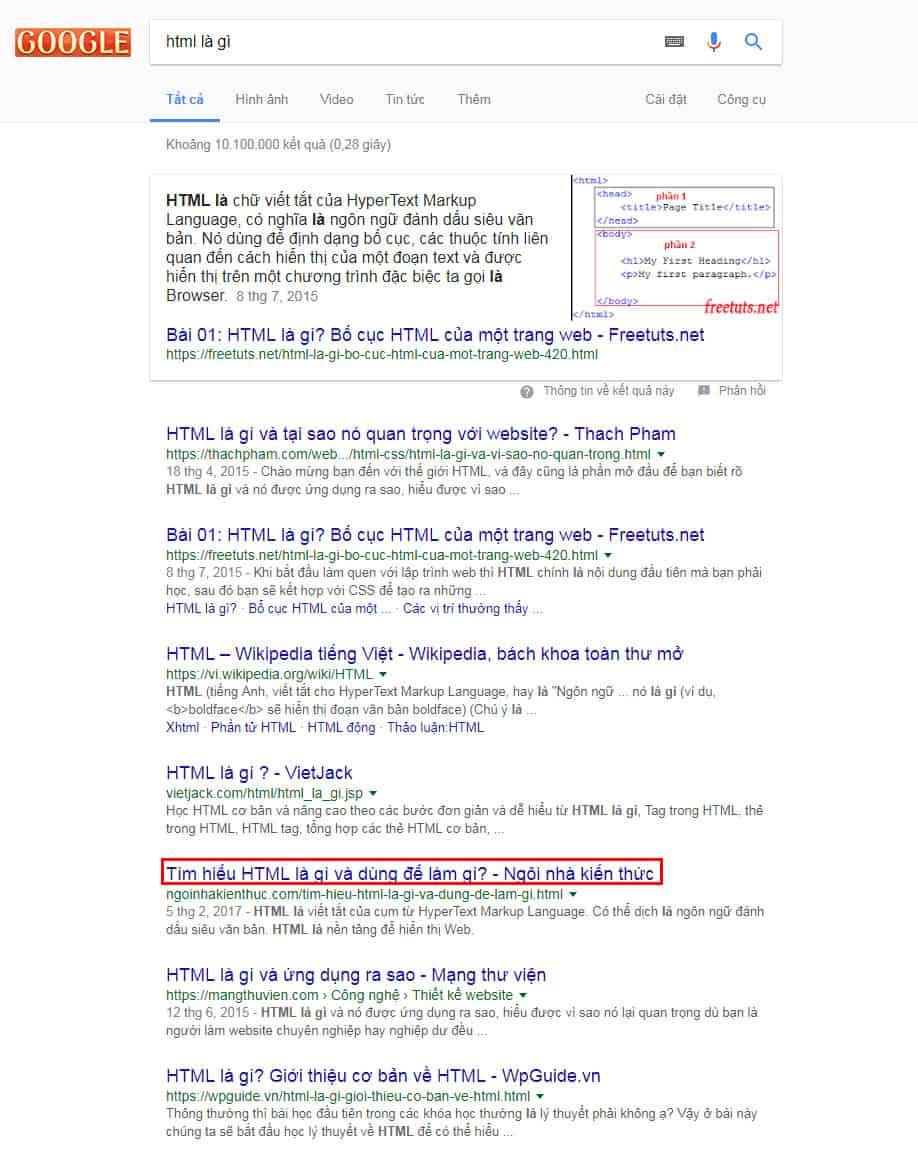 Title bài viết trển Google