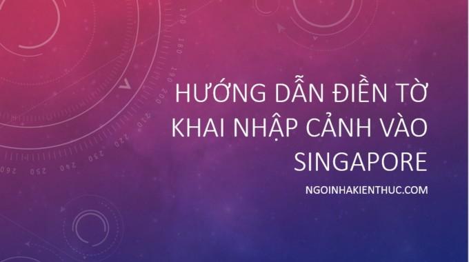 Hướng dẫn điền tờ khai nhập cảnh Singapore cho người Việt Nam