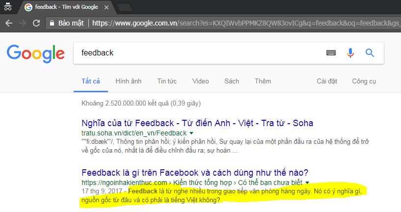 Mô tả trên Google Search