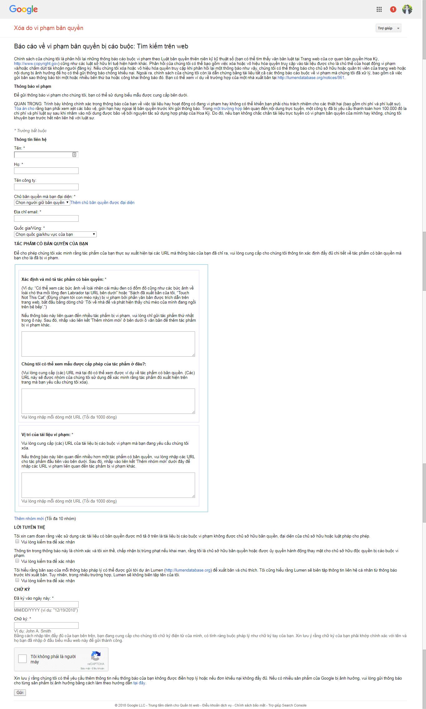 Giao diện form báo cáo vi phạm bản quyền DMCA