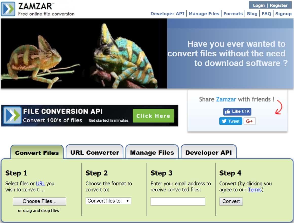 8 - Chuyển đổi file bất kỳ với trang web zamzar mà không cài phần mềm khác