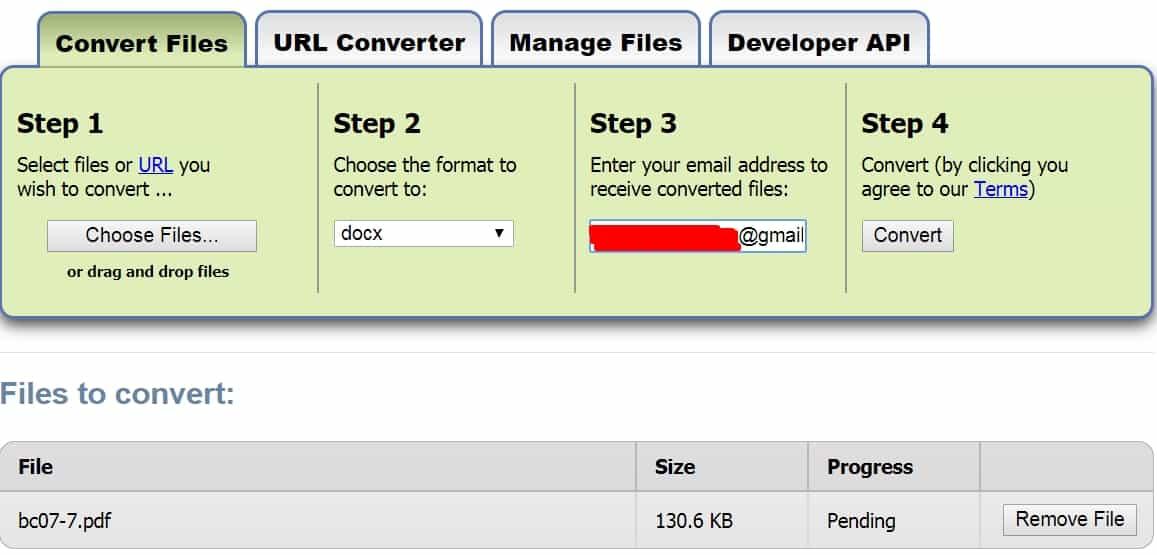 11 - Chuyển đổi file bất kỳ với trang web zamzar mà không cài phần mềm khác