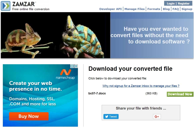 12 - Chuyển đổi file bất kỳ với trang web zamzar mà không cài phần mềm khác