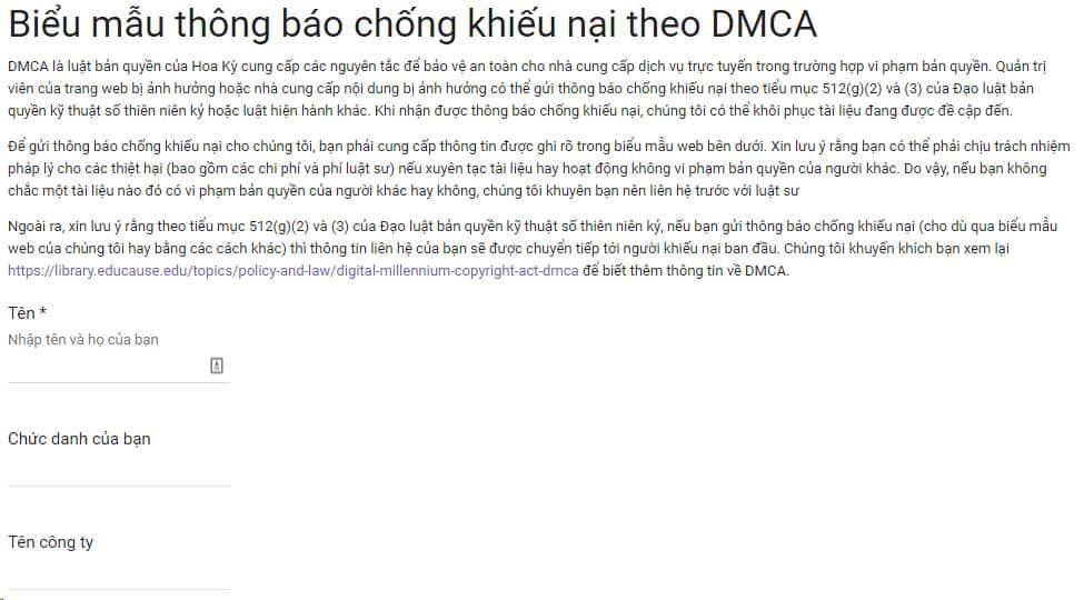 Biểu mẫu để kháng cáo DMCA