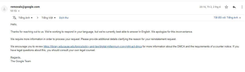 Nội dung email DMCA kháng cáo 2
