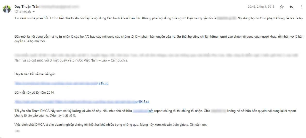 Nội dung email DMCA kháng cáo 3