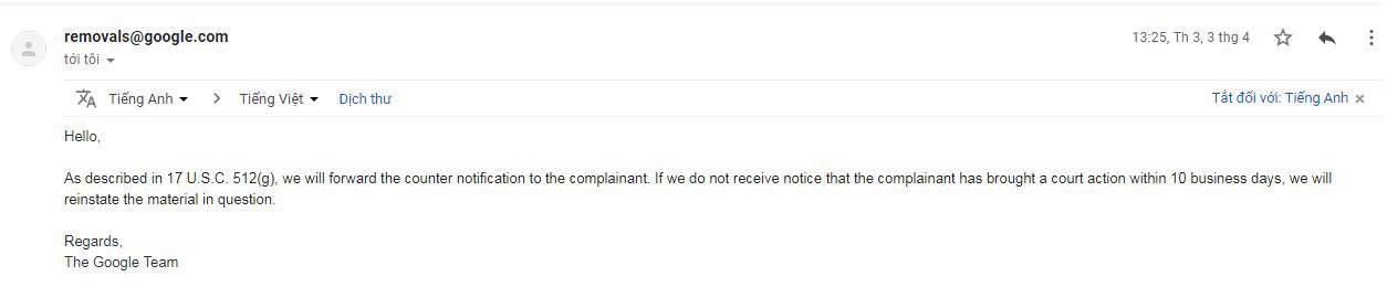 Nội dung email DMCA kháng cáo 4