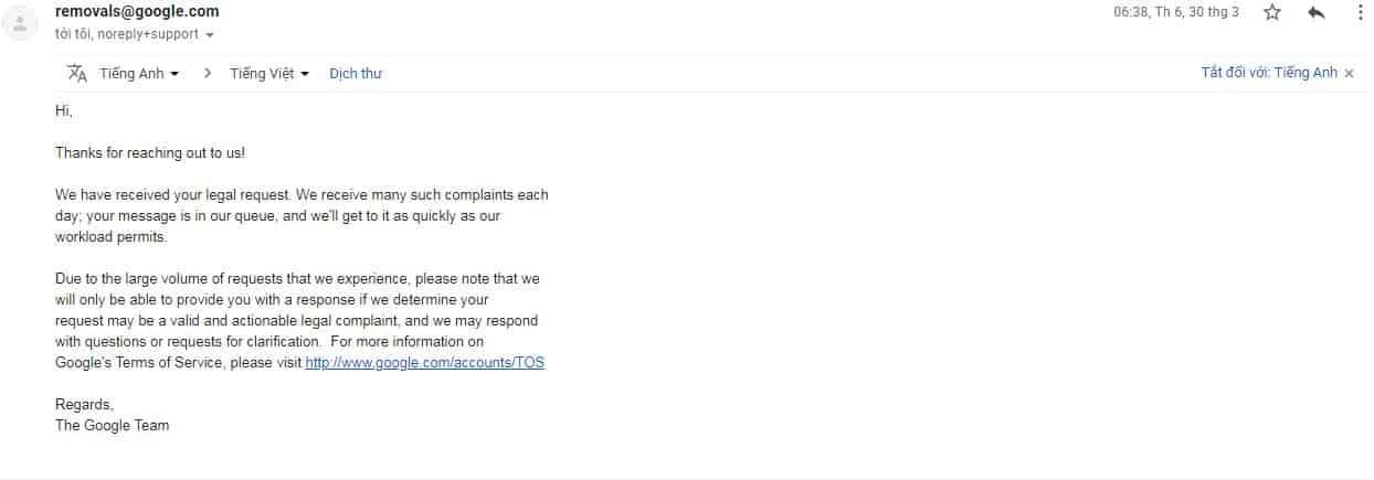Nội dung email DMCA kháng cáo