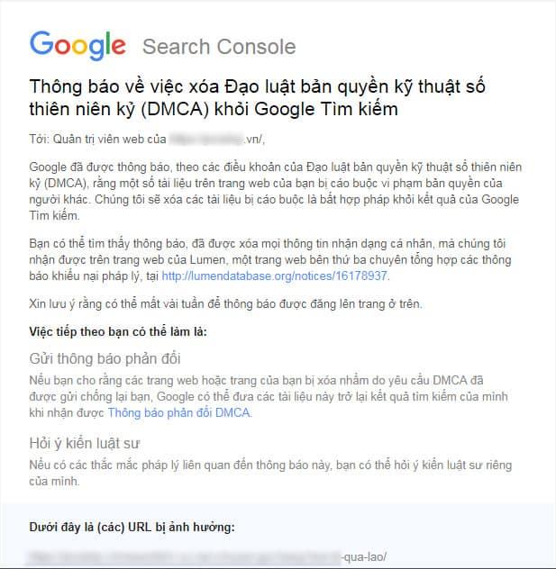 Thông báo vi phạm DMCA từ Google