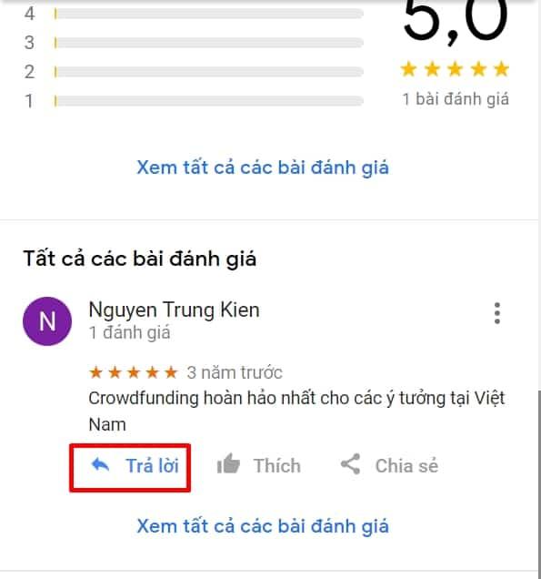 5 - Phản hồi trực tiếp với đánh giá người dùng trên Google Map