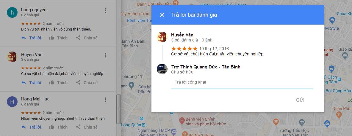 6 - Phản hồi trực tiếp với đánh giá người dùng trên Google Map