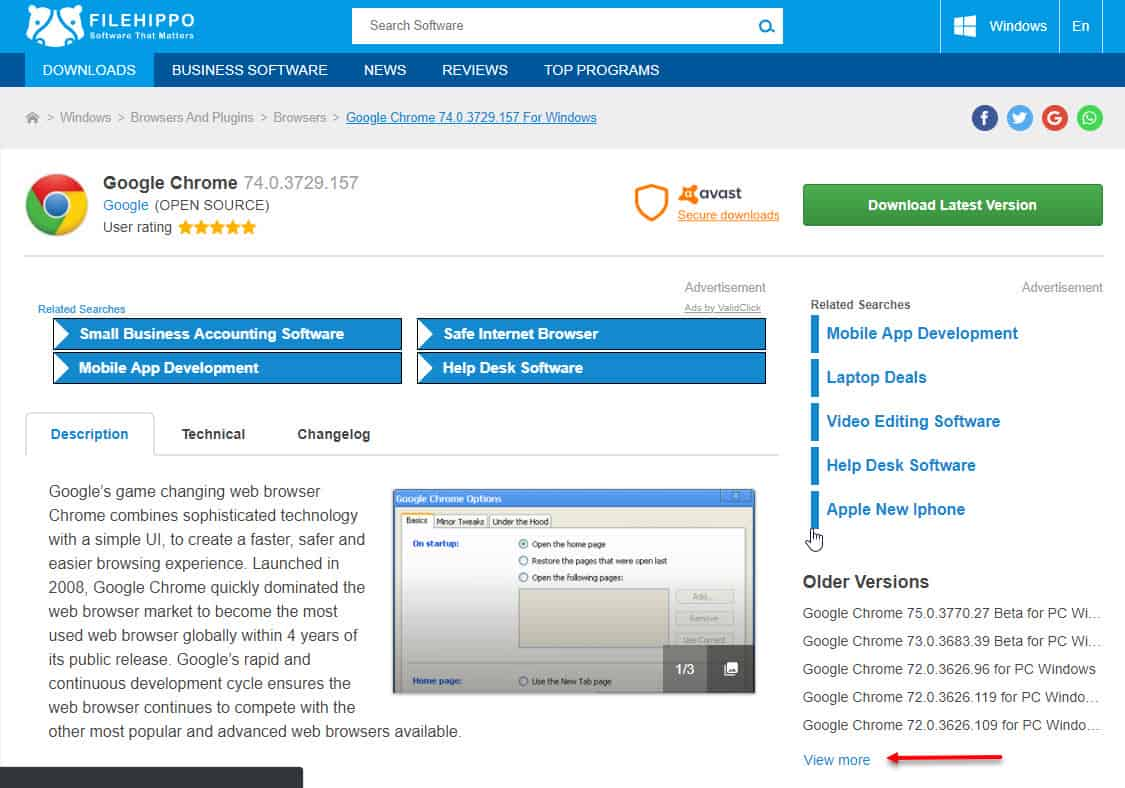 Tải Chrome trên Filehippo