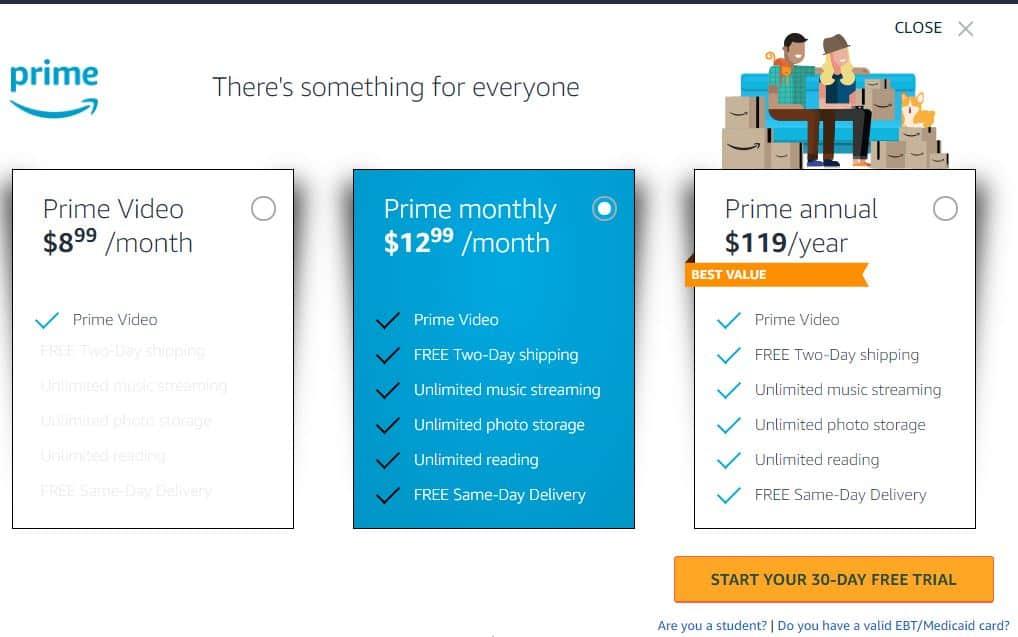 Giá cước Amazon Prime